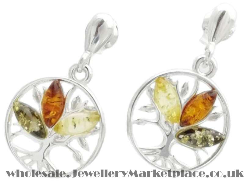 a3326dda5 Silver Tree of Life Earrings with Amber Multi | Jewellery ...