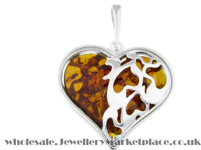 Silver and Amber Heart Jewellery
